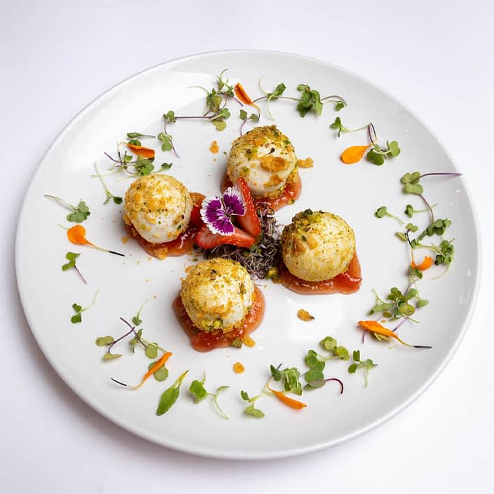 Goat Cheese balls filled with nougat